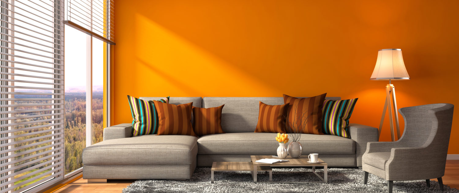 Interior with sofa 3d illustration for Tapiceria y decoracion